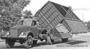 Автопоезд-хлопковоз ГАЗ-63Д с полуприцепом ГАЗ-707 в процессе поднятия самосвального кузова. Заводское фото, конец 1950-х.