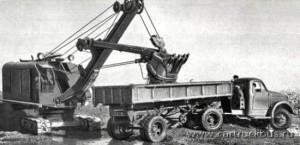 ГАЗ-63Д с самосвальным полуприцепом для сыпучих грузов. Испытания 1958 года. Заводское фото.