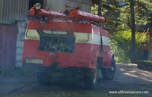 Пожарный ГАЗ-63, двигатель запущен, проверка выхлопной системы